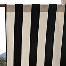 Awning Stripe Outdoor Window Panel - Black/Ivory