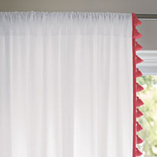French Tassel Window Panel – Strawberry
