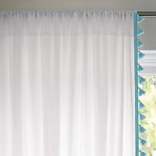 French Tassel Window Panel – Aqua