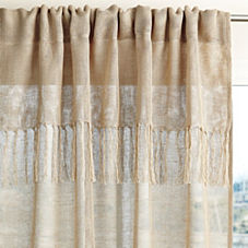 Fringed Linen Window Panel – Flax