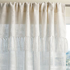 Fringed Linen Window Panel – Ivory