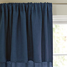 Navy Washed Linen Window Panel