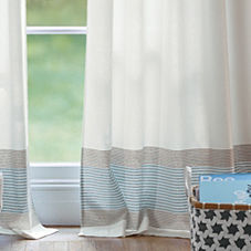 Ivory Yacht Stripe Window Panel
