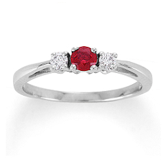 Round Ruby and Diamond Three-Stone Ring