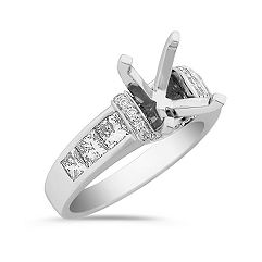 Princess Cut and Round Diamond Engagement Ring with Pavé and Channel Setting