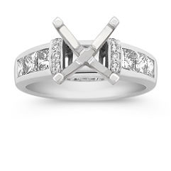 Princess Cut and Round Diamond Engagement Ring with Pave and Channel Setting