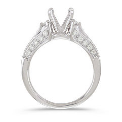 Three-Stone Marquise and Round Diamond Engagement Ring with Pavé Setting