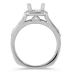 Halo Princess Cut and Round Diamond Platinum Engagement Ring
