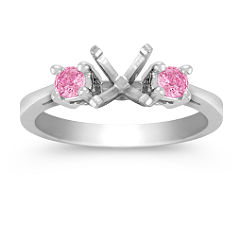 Three-Stone Pink Sapphire Engagement Ring