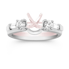 Baguette and Round Diamond Solitaire Engagment Ring Wrap