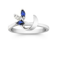 Marquise Sapphire and Diamond Solitaire Engagment Ring Wrap