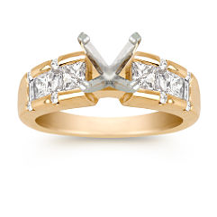 Princess Cut, Baguette, and Round Diamond Engagement Ring (3/4 ct. tw.)