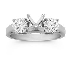 Three-Stone Round Diamond Engagement Ring in Platinum
