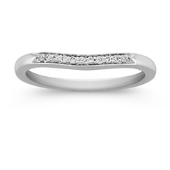 Pavé Set Diamond Contour Wedding Band in Platinum