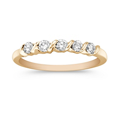 Five Stone Diamond Channel Set Wedding Band