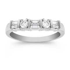 Round and Baguette Diamond Wedding Band in Platinum