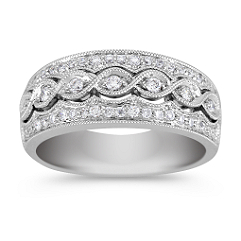 Vintage Diamond Ring with Pavé Setting