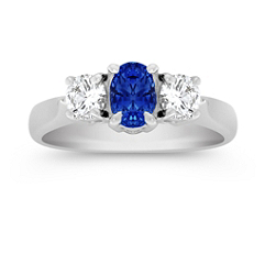 Oval Sapphire and Diamond Three-Stone Ring