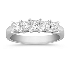 Five Stone Princess Cut Diamond Anniversary Band