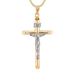 14k Two-Tone Gold Cross Pendant (18 in.)