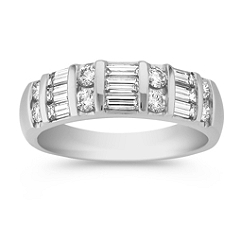 Round and Baguette Diamond Anniversary Band