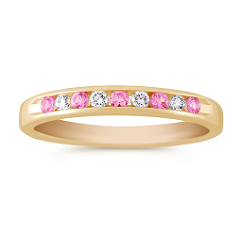 Round Pink Sapphire and Diamond Anniversary Band