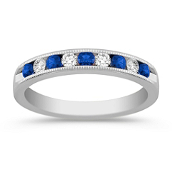 Round Sapphire and Diamond Wedding Band with Channel Setting