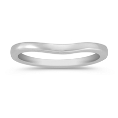 14k White Gold Contour Wedding Band (2mm)