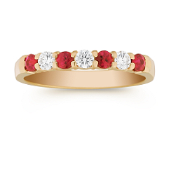Round Ruby and Diamond Anniversary Band