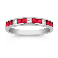 Princess Cut Ruby and Diamond Anniversary Band