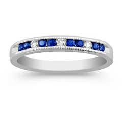 Vintage Round Sapphire and Diamond Wedding Band with Channel Setting