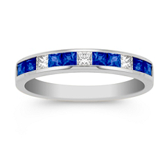 Princess Cut Sapphire and Diamond Anniversary Band