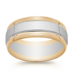 14k Two-Tone Gold Wedding Band (8mm)