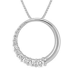 Round Diamond Journey Circle Pendant (18 in.)