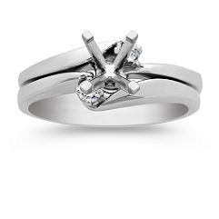 Swirl Three-Stone Diamond Wedding Set