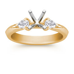 Three-Stone Pear Shaped Diamond Engagement Ring