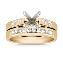 Princess Cut Diamond Wedding Set