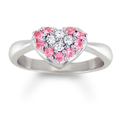 Round Pink Sapphire and Diamond Heart Ring