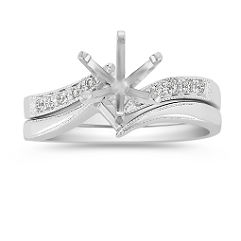 Swirl Diamond Wedding Set with Pave Setting