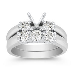 Three-Stone Diamond Wedding Set