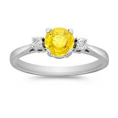 Round Yellow Sapphire and Diamond Ring