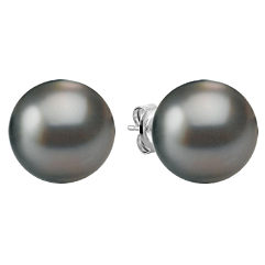 11mm Cultured Tahitian Pearl Solitaire Earrings