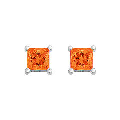 Princess Cut Orange Sapphire Solitaire Earrings
