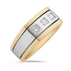 Princess Cut Diamond Ring in Two-Tone Gold
