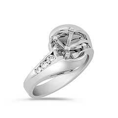 Swirl Diamond Engagement Ring with Channel Setting