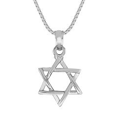 14k White Gold Star of David Pendant (18 in.)