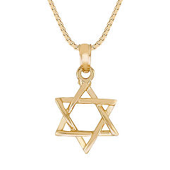 14k Yellow Gold Star of David Pendant (18 in.)