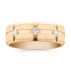 Men's Princess Cut Diamond Wedding Band in Yellow Gold