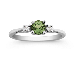 Round Green Sapphire and Diamond Ring