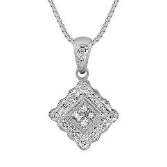 Princess Cut and Round Diamond Pendant (18 in.)